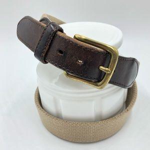 Brook Brothers Men's Canvas Leather Belt Sz 32
